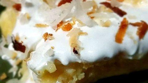 A slice of pina colada cake.